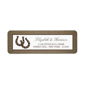 Lantlig hästsko för land på Burlapbröllop Returadress Etikett