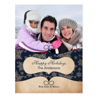 Lantlig helgdagskort för blåttsnöflingorfoto vykort