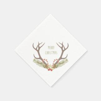 Lantlig horn på kronhjort & candy cane för jul   papper servetter