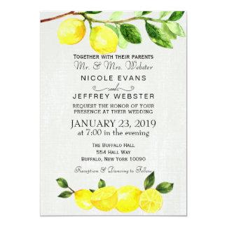 Lantlig inbjudan för bröllop för landcitronsommar