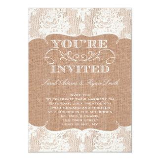 Lantlig inbjudan för Burlaptryck- & snörebröllop