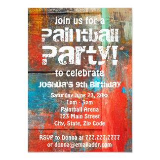 Lantlig inbjudan för det friaPaintballparty 11,4 X 15,9 Cm Inbjudningskort