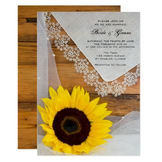 Lantlig inbjudan för solrossnörelandsbyggsbröllop