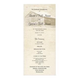 Lantlig landladugårdbröllopsprogram reklamkort