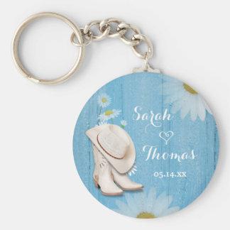 Lantlig landsbyggsbröllop knäppas Keychain Rund Nyckelring