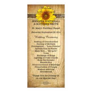 Lantlig landsolrosbröllopsprogram reklamkort