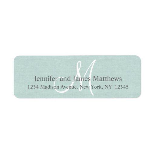 Lantlig linneMonogram för bröllop Returadress Etikett
