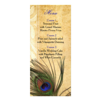 Lantlig meny för påfågelfjäderbröllop