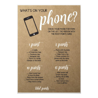 Lantlig möhippaLek vad är i din telefon 12,7 X 17,8 Cm Inbjudningskort