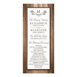 Lantlig Monogramgren för land & träbröllop Reklamkort