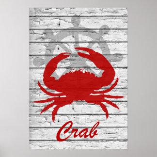 Lantlig nautisk krabba på tryck för skalningsträ | poster