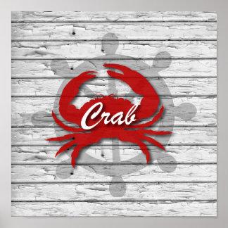 Lantlig nautisk röd krabba på grått ridit ut trä poster