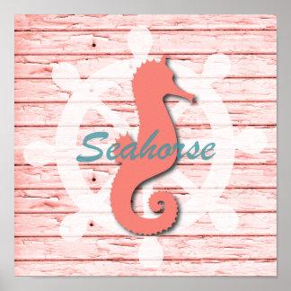 Lantlig nautisk Seahorse på tryck för skalningsträ Poster