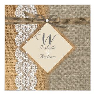 Lantlig pärla för snöre för bröllopBurlapHessian Fyrkantigt 13,3 Cm Inbjudningskort