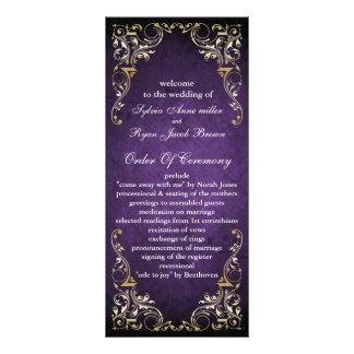 lantlig purpurfärgad regal bröllopsprogram anpassade rackkort