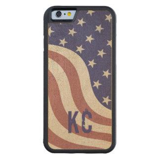 Lantlig riden ut monogram för USA flagga iPhone 6 Bumper Fodral I Lönn