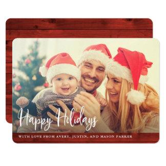 Lantlig röd glad helg för trä | med fotoet 12,7 x 17,8 cm inbjudningskort