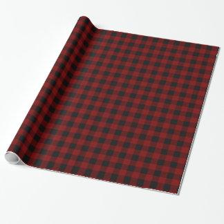 Lantlig röd och svart buffelplädMonogram Presentpapper