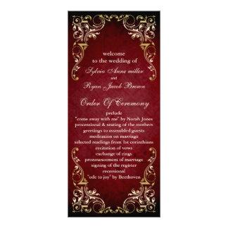 lantlig röd regal bröllopsprogram rackkort