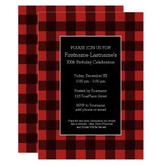 Lantlig röd & svart buffelplädfödelsedagsfest 12,7 x 17,8 cm inbjudningskort
