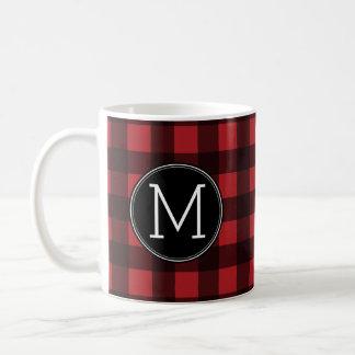 Lantlig röd & svart Monogram för buffelplädmönster Kaffemugg
