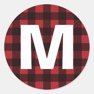 Lantlig röd & svart Monogram för buffelplädmönster Runt Klistermärke