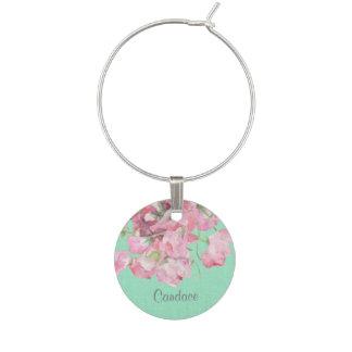 Lantlig rosa blommigt på MintgröntBurlap Berlock Vinglas
