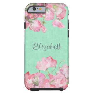 Lantlig rosa blommigt på MintgröntBurlap Tough iPhone 6 Case