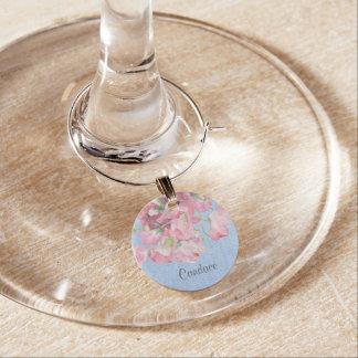 Lantlig rosa blommigt på SerenityblåttBurlap Berlock Vinglas