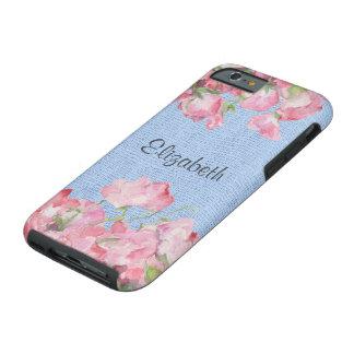Lantlig rosa blommigt på SerenityblåttBurlap Tough iPhone 6 Fodral