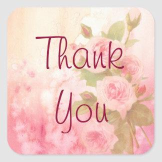 Lantlig rosa klistermärke för tackvintage