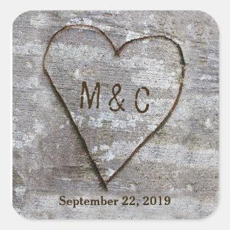 Lantlig sniden initialer för bröllop för fyrkantigt klistermärke