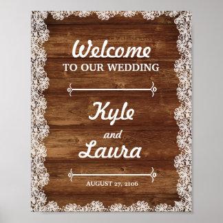 Lantlig snöre- och träbröllopaffisch poster
