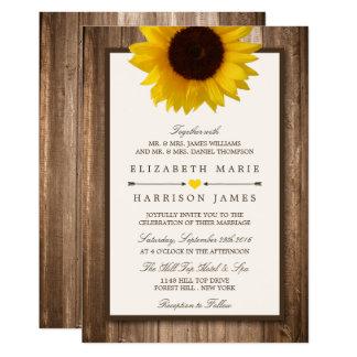 Lantlig solros för land & Wood bröllop för brunt 12,7 X 17,8 Cm Inbjudningskort