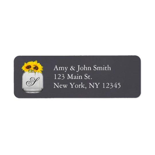 Lantlig solrosbröllopadressetiketter sunflwr7 returadress etikett