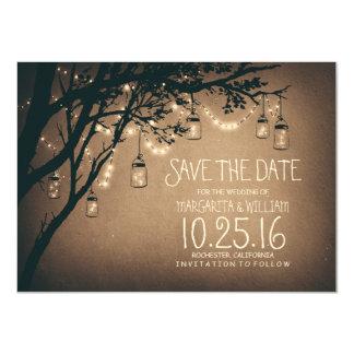 Lantlig spara datera & FirefliesMasonburkarna 11,4 X 15,9 Cm Inbjudningskort