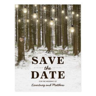 Lantlig spara för vinterskogsmarkträd datera vykort