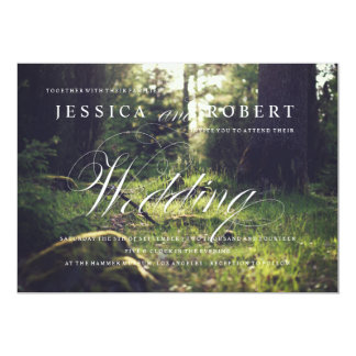 Lantlig Sunlit skog & elegant bröllopinbjudan 12,7 X 17,8 Cm Inbjudningskort