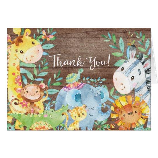 Lantlig tackkort för Safaridjungelbaby shower OBS Kort