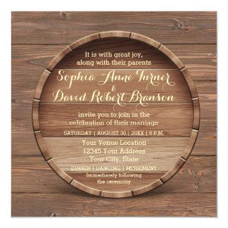Lantlig trätrummabröllopinbjudan fyrkantigt 13,3 cm inbjudningskort