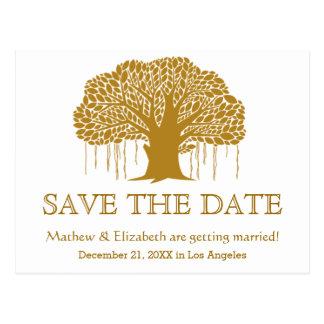 Lantlig utomhus- bröllop spara datum för vykort