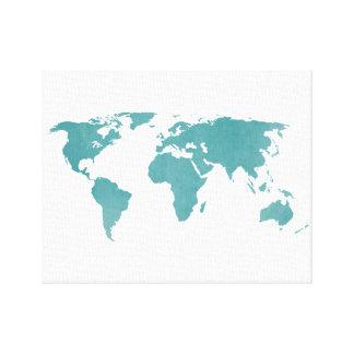 Lantlig världskarta för djup turkos canvastryck