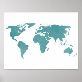 Lantlig världskarta för djup turkos poster