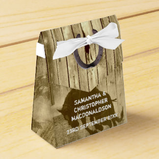 Lantlig vilda westerncowboylandsbyggsbröllop presentaskar