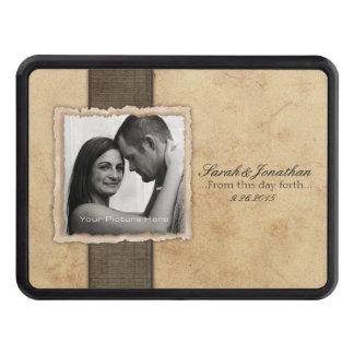 Lantlig vintage bröllop för förlovningfoto dragkroksskydd