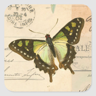 Lantlig vintagefjäril i grön klistermärke