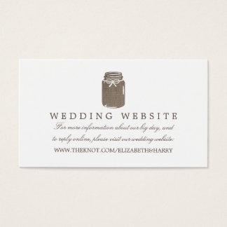 Lantlig Website för bröllop för BurlapMasonburk Visitkort