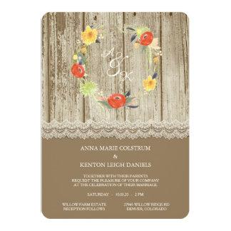 Lantlig Wood blom- kranbröllopinbjudan 12,7 X 17,8 Cm Inbjudningskort