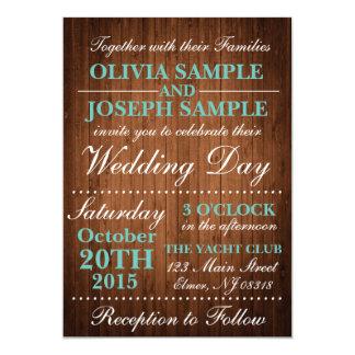 Lantlig Wood bröllopinbjudan 12,7 X 17,8 Cm Inbjudningskort