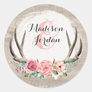 Lantlig Wood brölloppersonlig för blom- horn på Runt Klistermärke